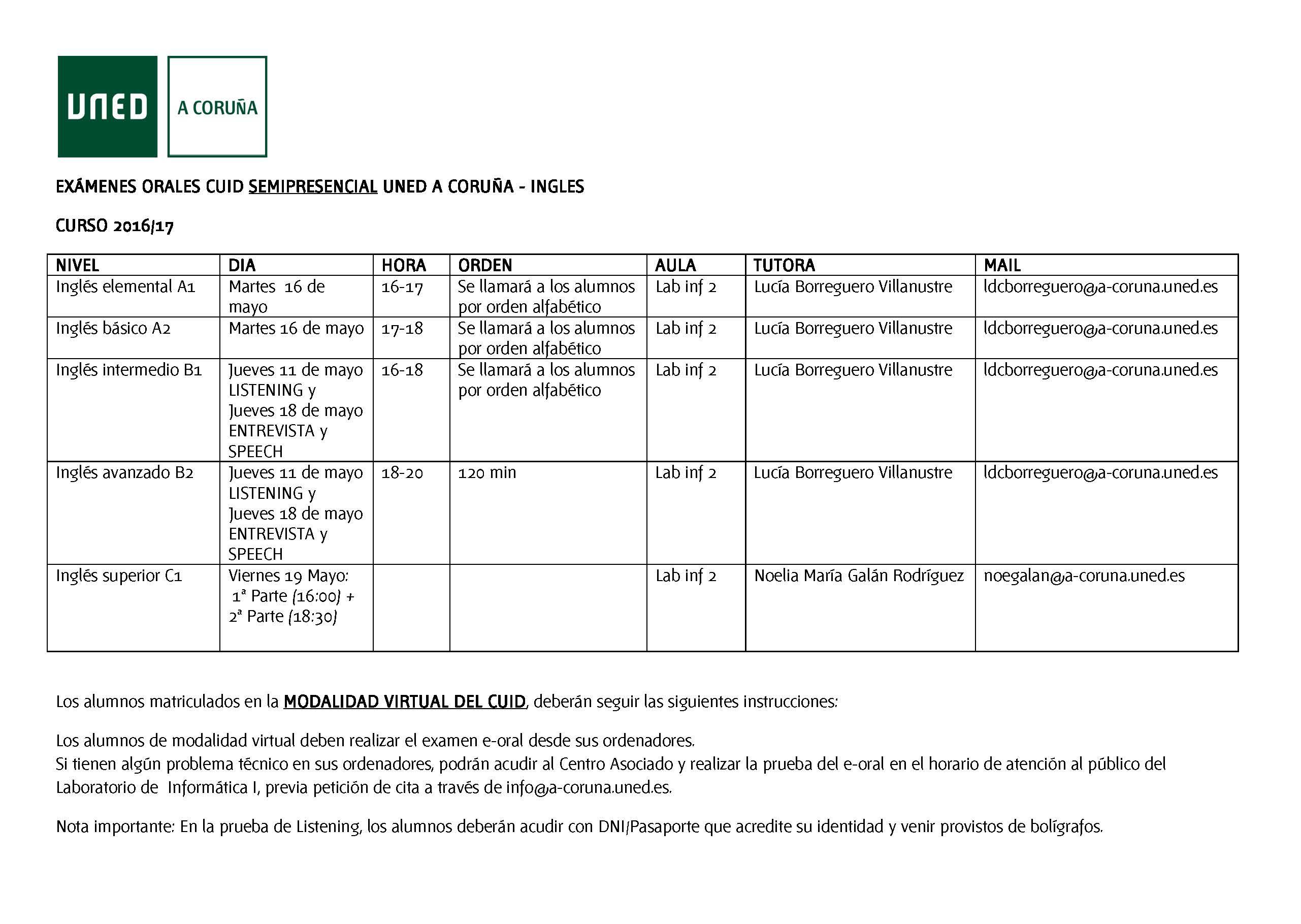 Uned Calendario Examenes.Calendario De Examenes Orales Cuid